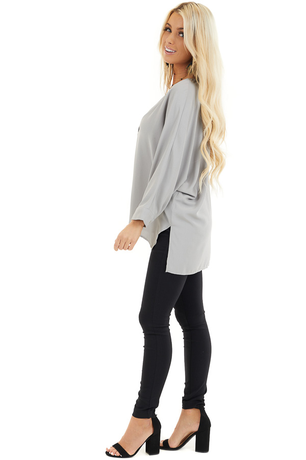 Dove Grey 3/4 Sleeve Flowy Top with V Neckline side full body