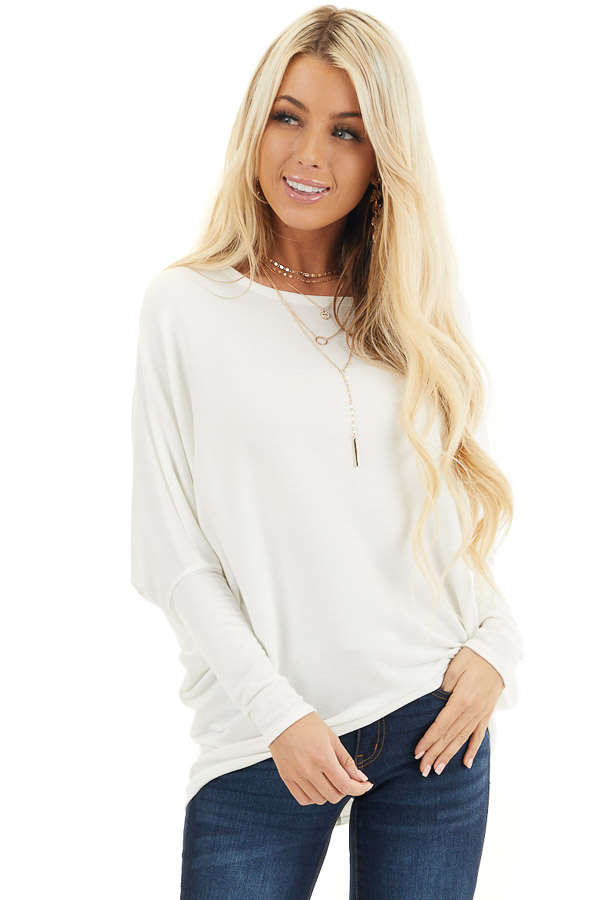 Off White Round Neck Top with Long Dolman Sleeves front close up