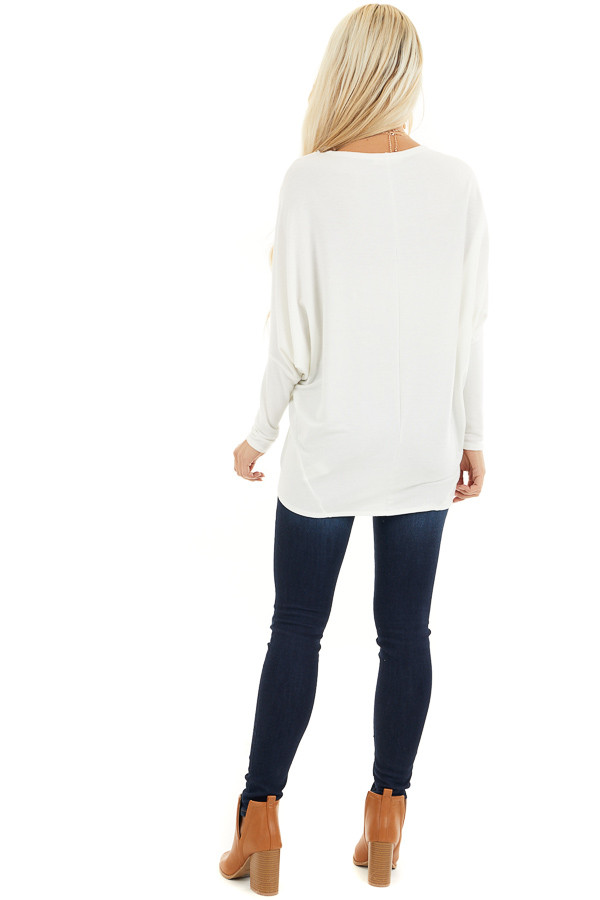 Off White Round Neck Top with Long Dolman Sleeves back full body