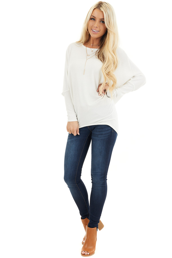Off White Round Neck Top with Long Dolman Sleeves front full body