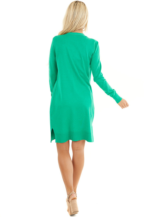 Kelly Green Button Up Cardigan with Front Pockets back full body