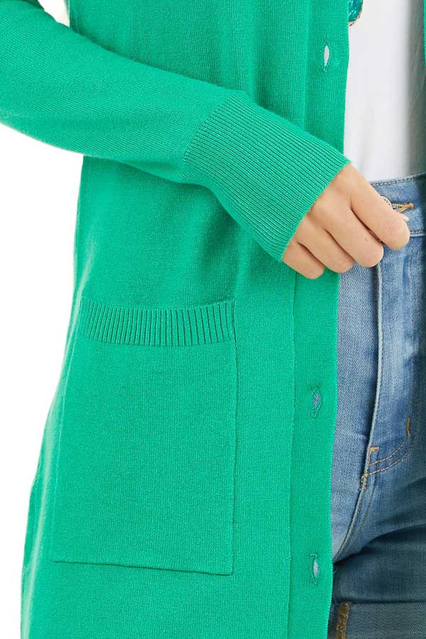 Kelly Green Button Up Cardigan with Front Pockets detail