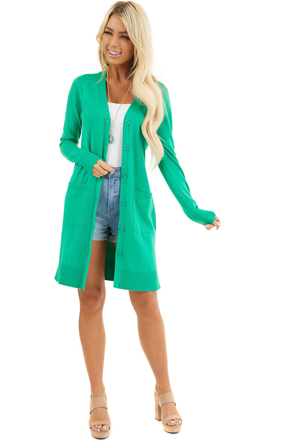 Kelly Green Button Up Cardigan with Front Pockets front full body