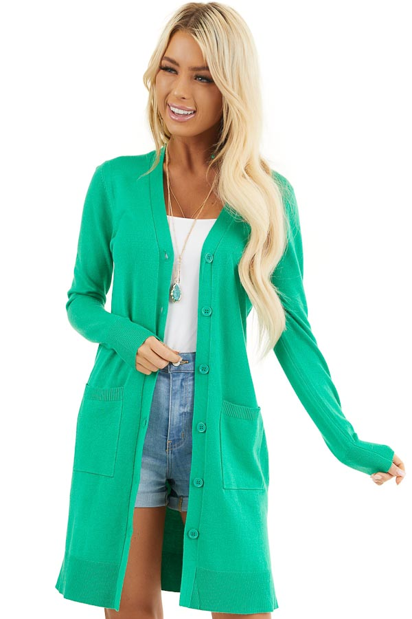 Kelly Green Button Up Cardigan with Front Pockets front close up
