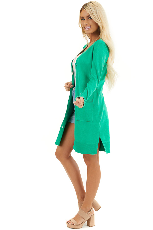 Kelly Green Button Up Cardigan with Front Pockets side full body