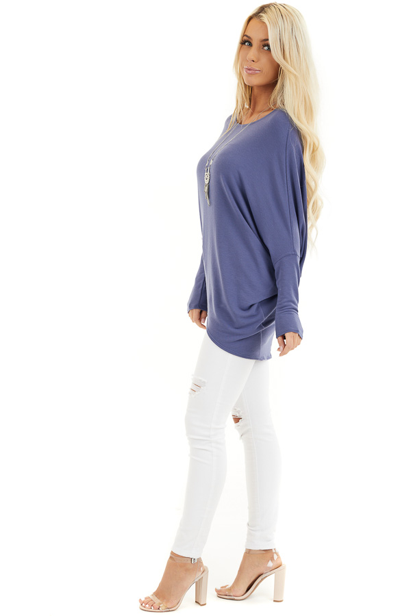 Dusty Blue Round Neck Top with Long Dolman Sleeves side full body