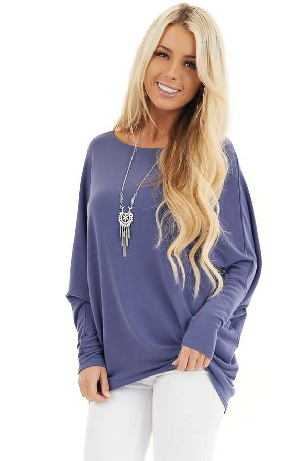 Dusty Blue Round Neck Top with Long Dolman Sleeves front close up