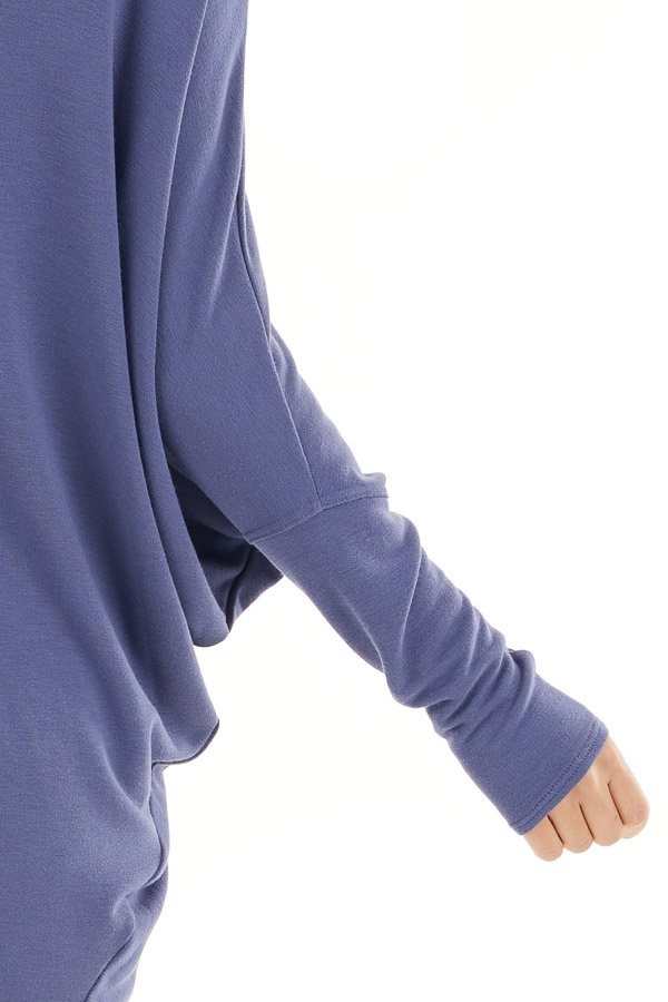 Dusty Blue Round Neck Top with Long Dolman Sleeves detail