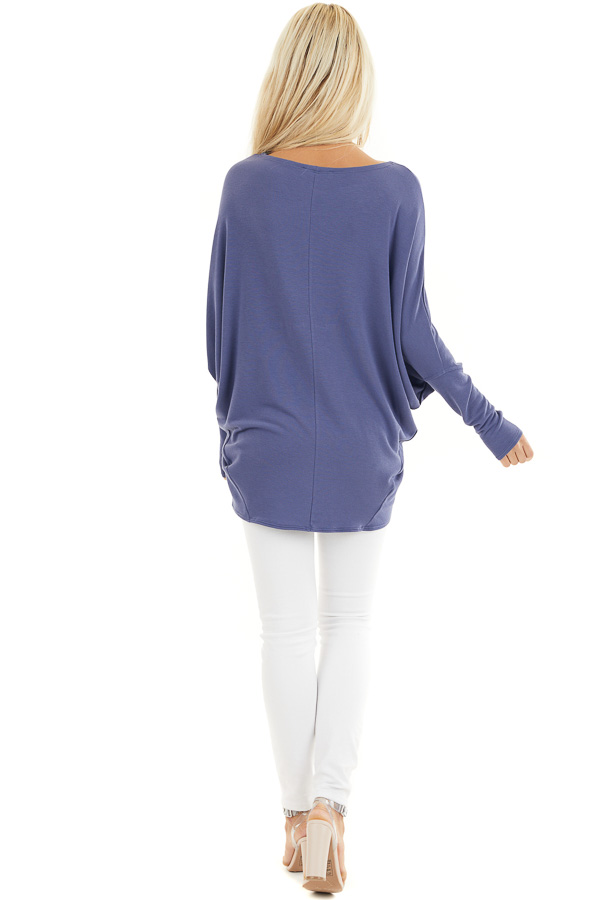 Dusty Blue Round Neck Top with Long Dolman Sleeves back full body