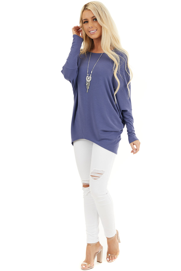 Dusty Blue Round Neck Top with Long Dolman Sleeves front full body
