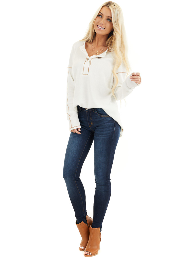 Off White Textured Knit Henley Top with Exposed Stitching front full body