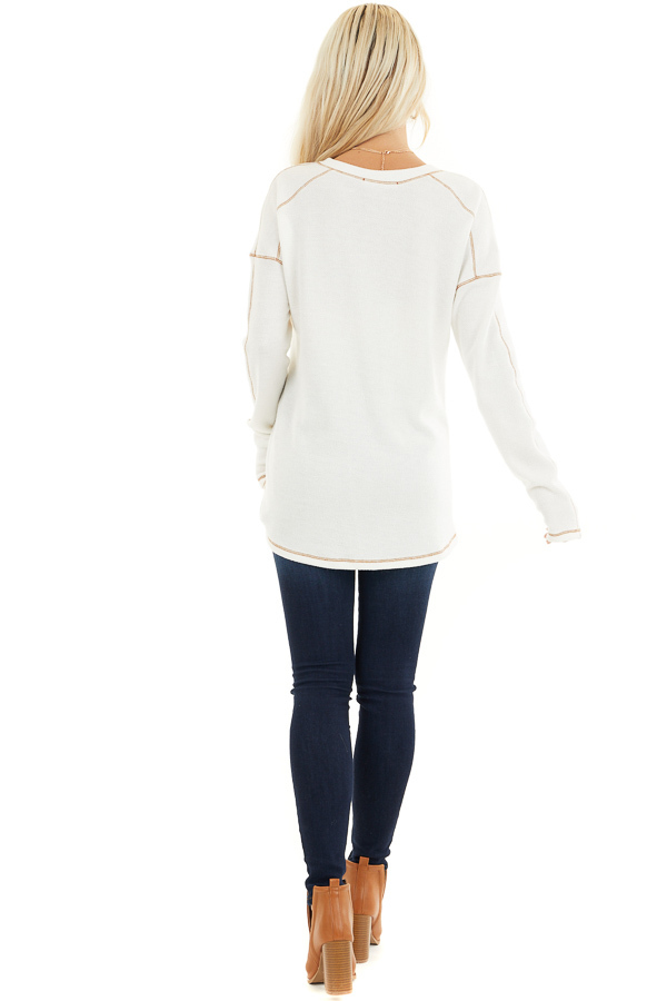 Off White Textured Knit Henley Top with Exposed Stitching back full body