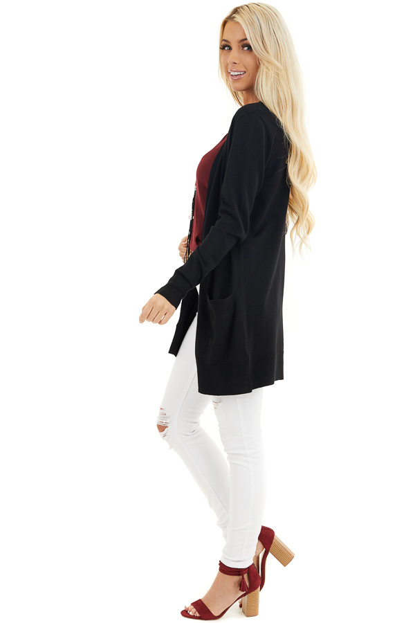 Black Button Up Cardigan with Front Pockets side full body