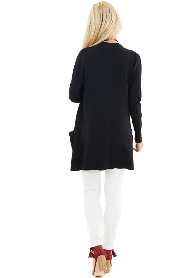 Black Button Up Cardigan with Front Pockets back full body