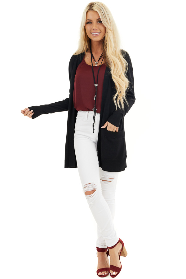 Black Button Up Cardigan with Front Pockets front full body