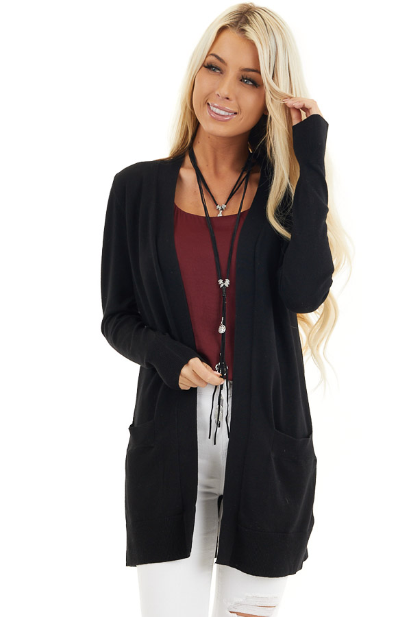 Black Button Up Cardigan with Front Pockets front close up