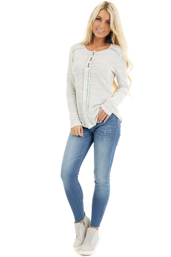 White and Cloud Grey Two Tone Waffle Knit Henley Top front full body