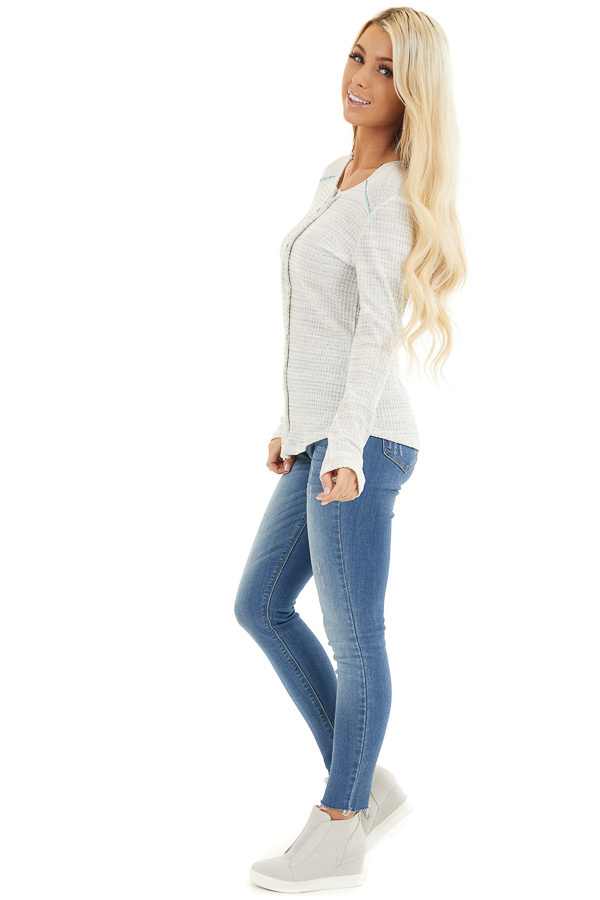 White and Cloud Grey Two Tone Waffle Knit Henley Top side full body