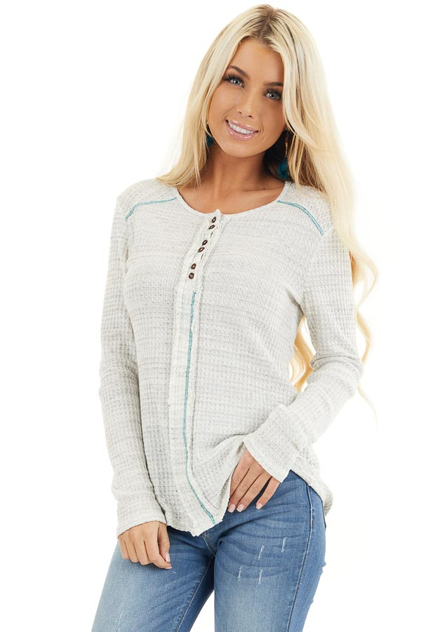 White and Cloud Grey Two Tone Waffle Knit Henley Top front close up
