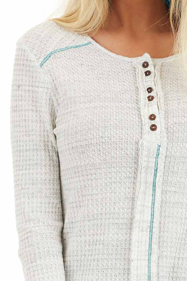 White and Cloud Grey Two Tone Waffle Knit Henley Top detail