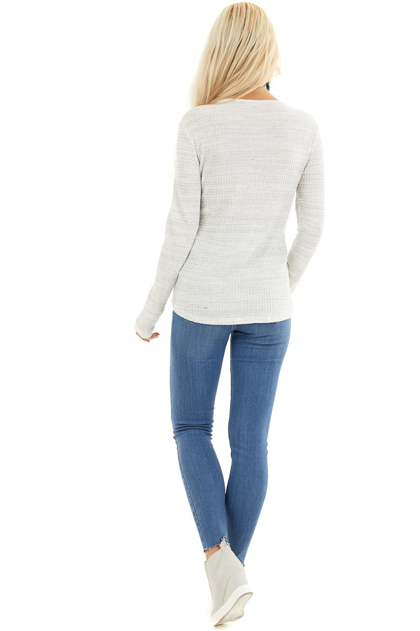 White and Cloud Grey Two Tone Waffle Knit Henley Top back full body
