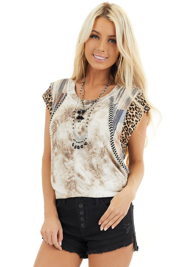 Taupe and Ivory Tie Dye Top with Short Multi Print Sleeves front close up