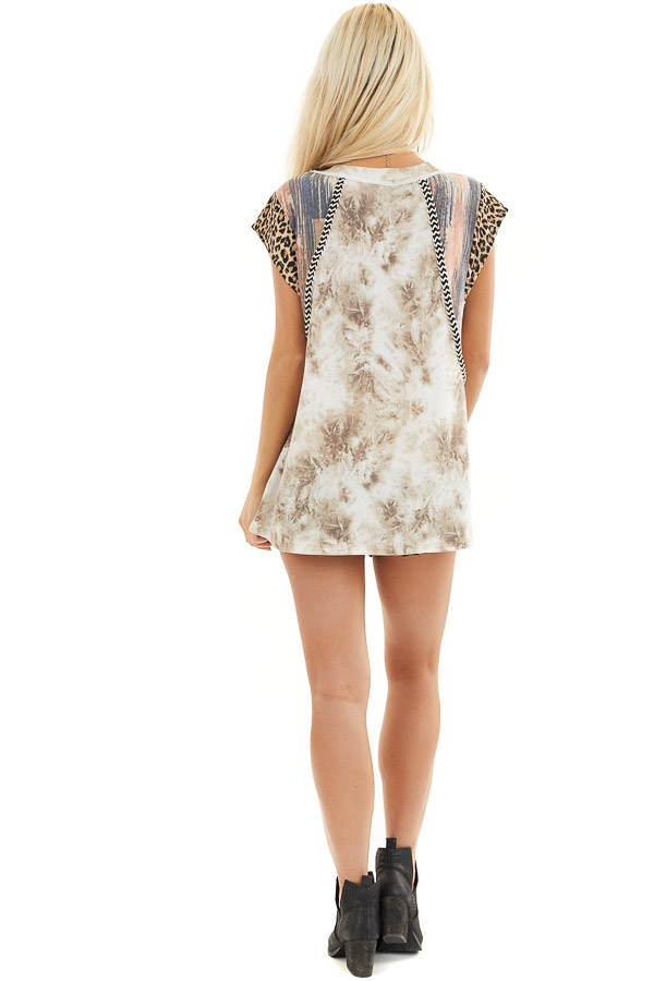 Taupe and Ivory Tie Dye Top with Short Multi Print Sleeves back full body