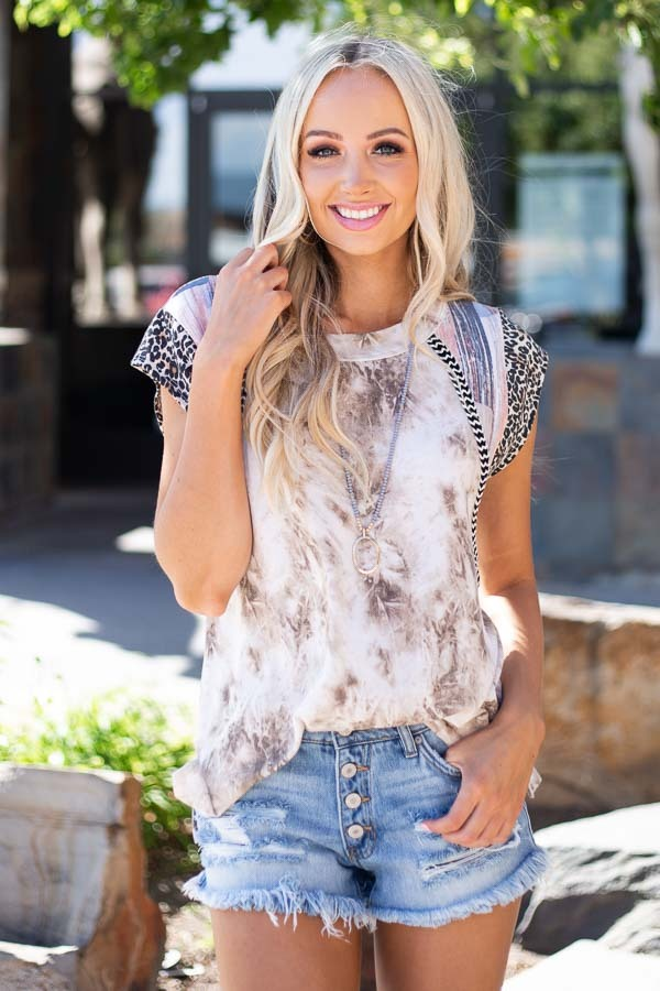 Taupe and Ivory Tie Dye Top with Short Multi Print Sleeves