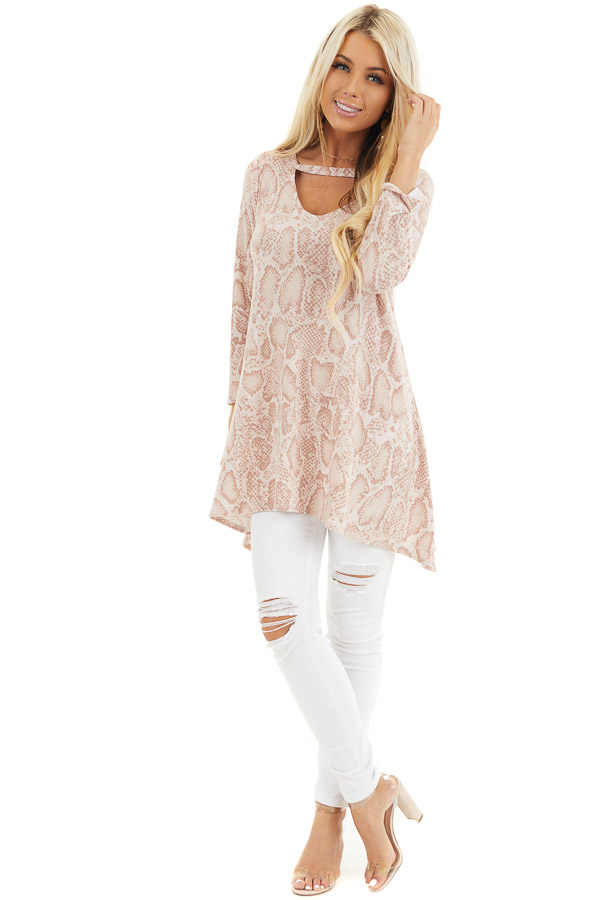 Blush Long Sleeve Snake Print Tunic Top with Cutout Detail front full body