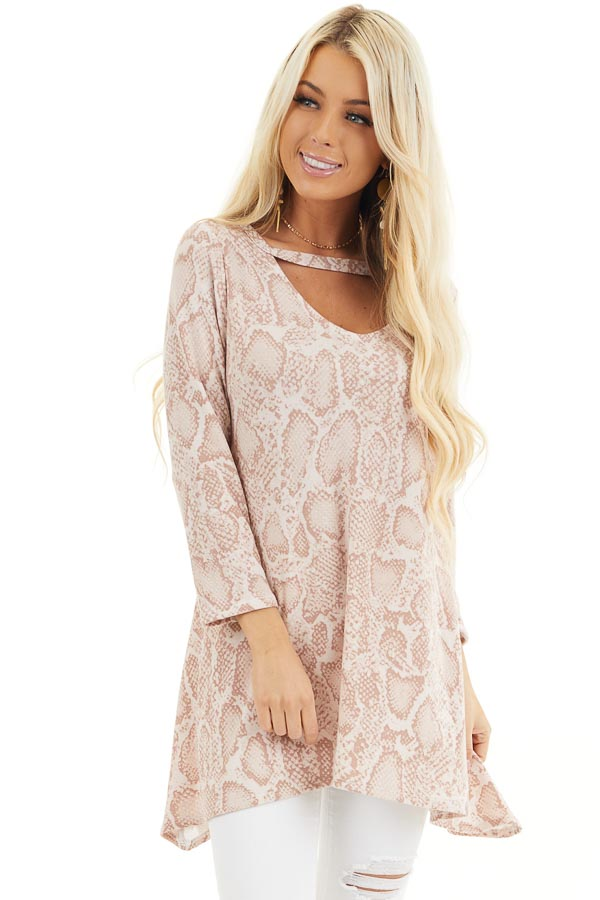 Blush Long Sleeve Snake Print Tunic Top with Cutout Detail front close up