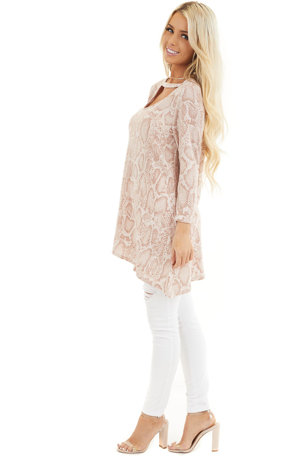 Blush Long Sleeve Snake Print Tunic Top with Cutout Detail side full body