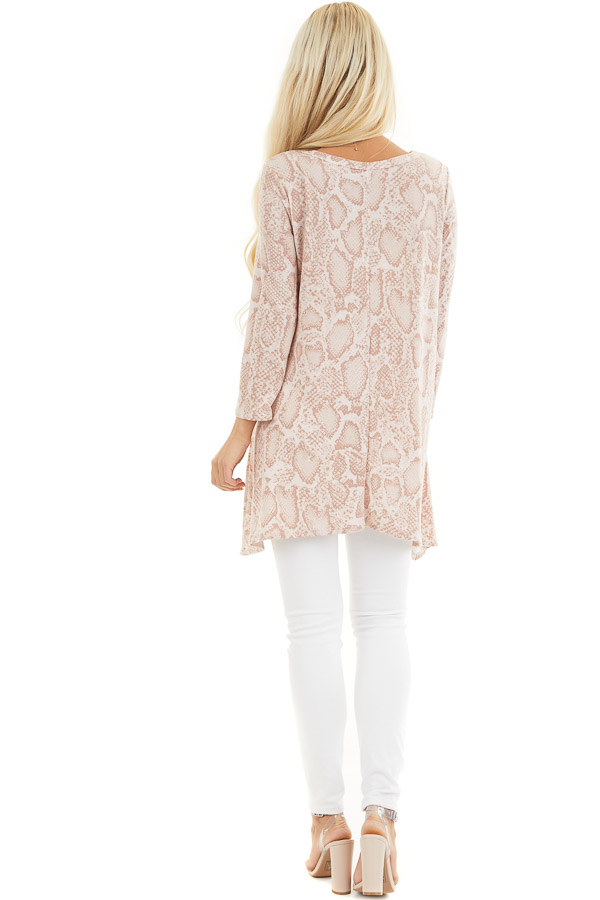 Blush Long Sleeve Snake Print Tunic Top with Cutout Detail back full body
