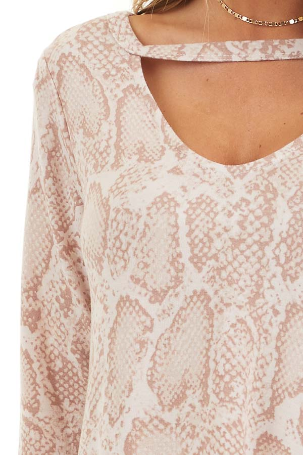 Blush Long Sleeve Snake Print Tunic Top with Cutout Detail detail