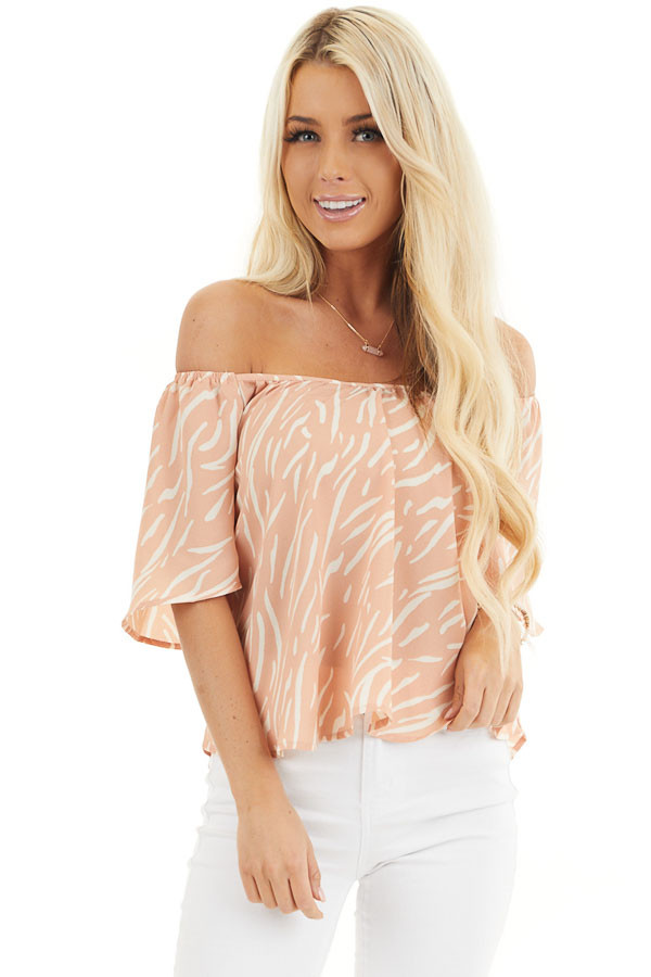 Peach and Cream Printed Off the Shoulder Flowy Top front close up