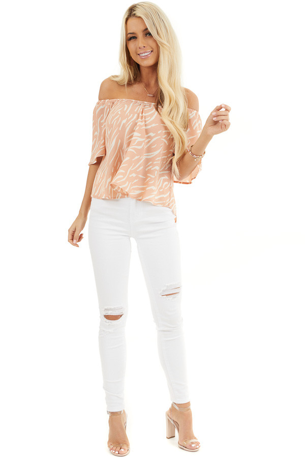 Peach and Cream Printed Off the Shoulder Flowy Top front full body