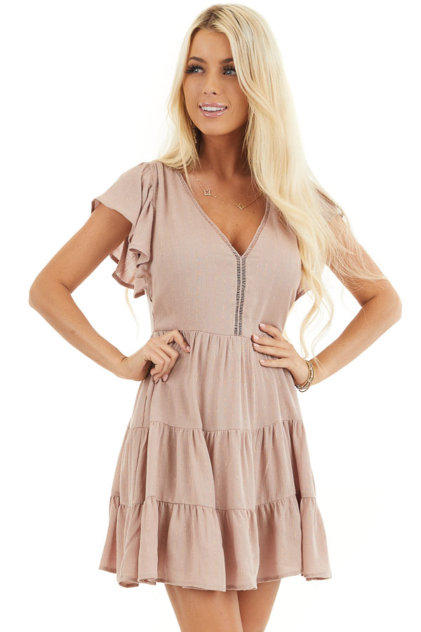 Dusty Rose Tiered Short Dress with Flutter Sleeves front close up