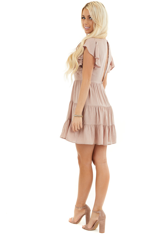 Dusty Rose Tiered Short Dress with Flutter Sleeves side full body