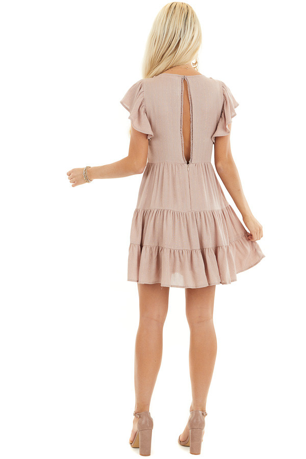 Dusty Rose Tiered Short Dress with Flutter Sleeves back full body