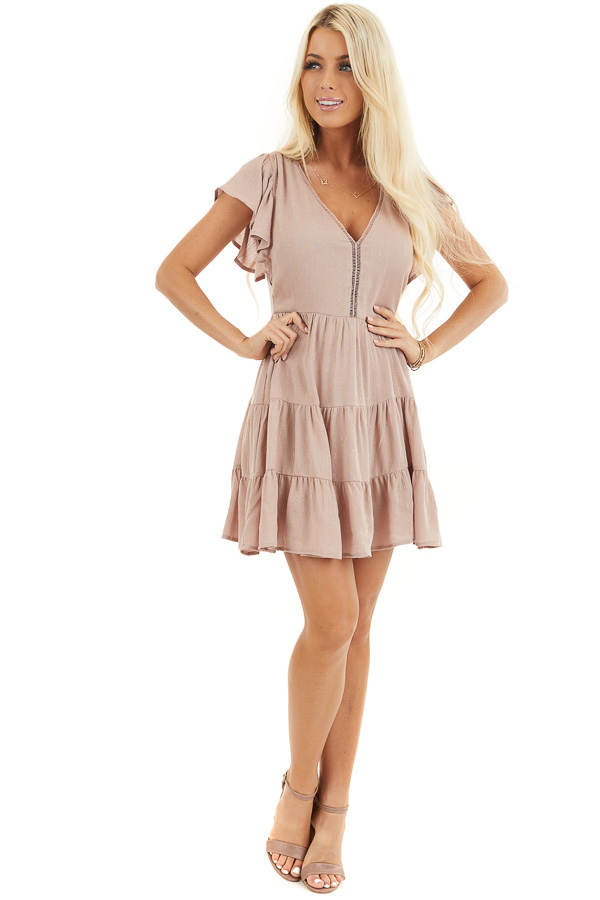 Dusty Rose Tiered Short Dress with Flutter Sleeves front full body