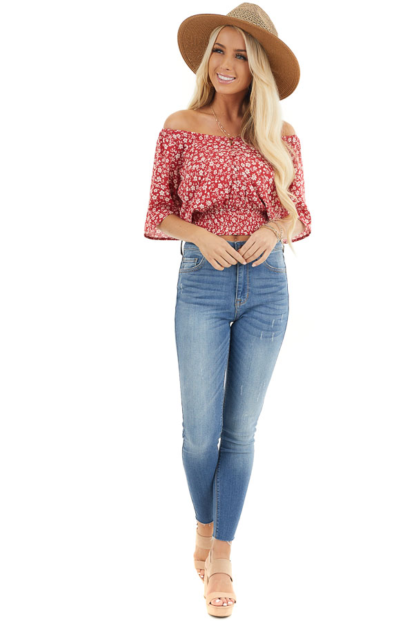 Ruby Red Floral Print Button Up Top with Smocked Hemline front full body