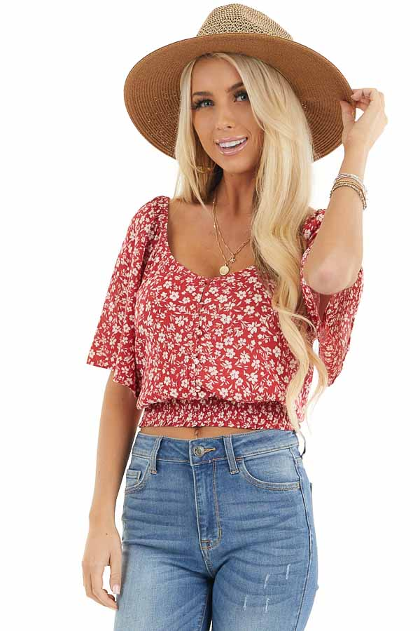 Ruby Red Floral Print Button Up Top with Smocked Hemline front close up