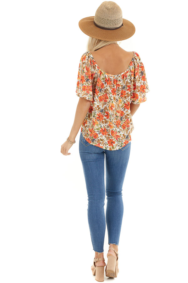 Cream and Orange Floral Print Flowy Top with Wide Neckline back full body