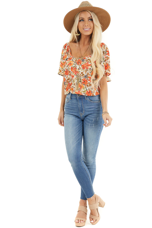 Cream and Orange Floral Print Flowy Top with Wide Neckline front full body