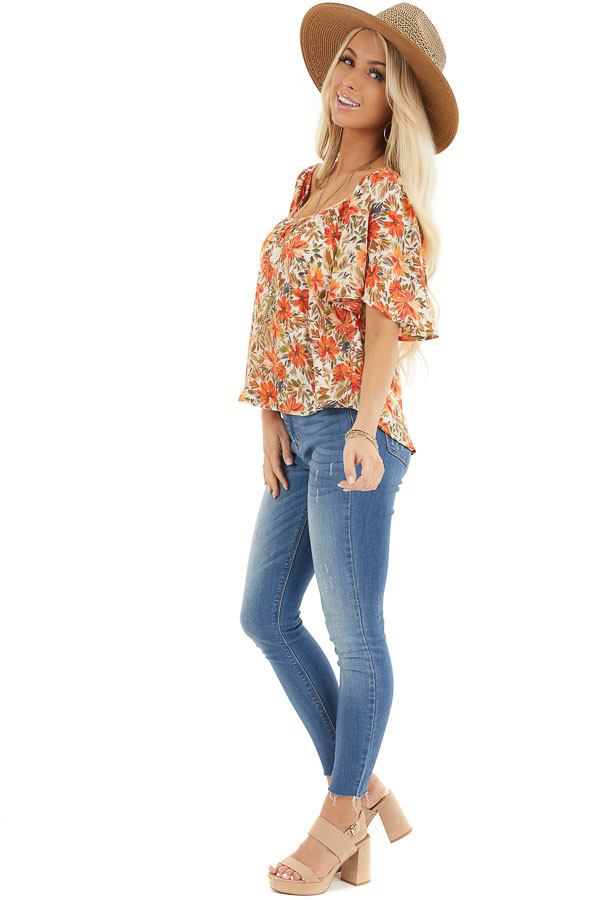 Cream and Orange Floral Print Flowy Top with Wide Neckline side full body