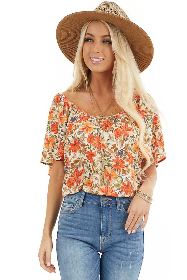 Cream and Orange Floral Print Flowy Top with Wide Neckline front close up
