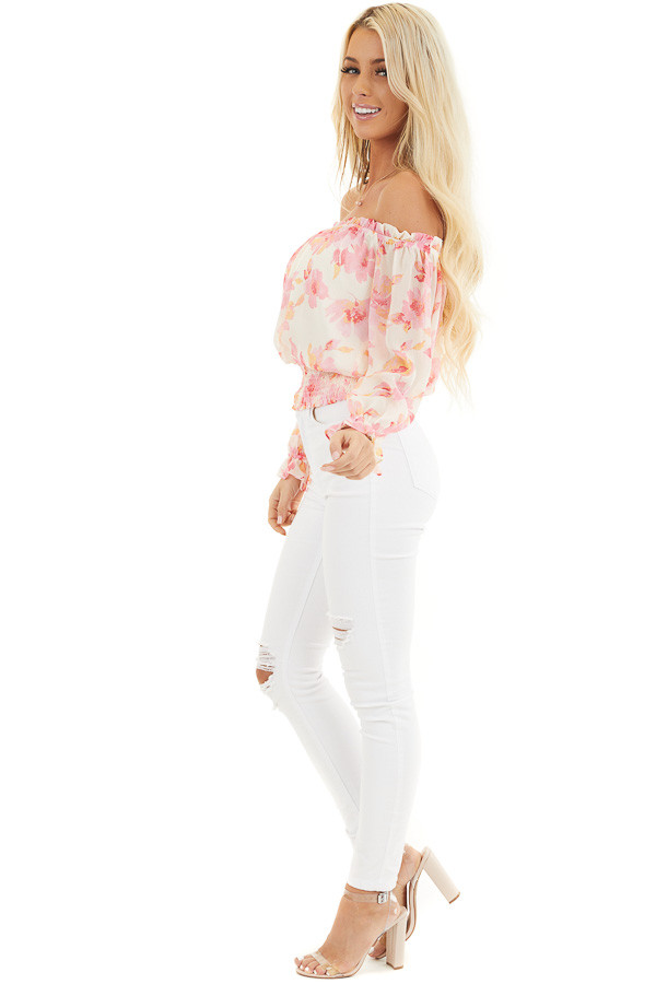 Cream and Pink Floral Print Off the Shoulder Smocked Top side full body