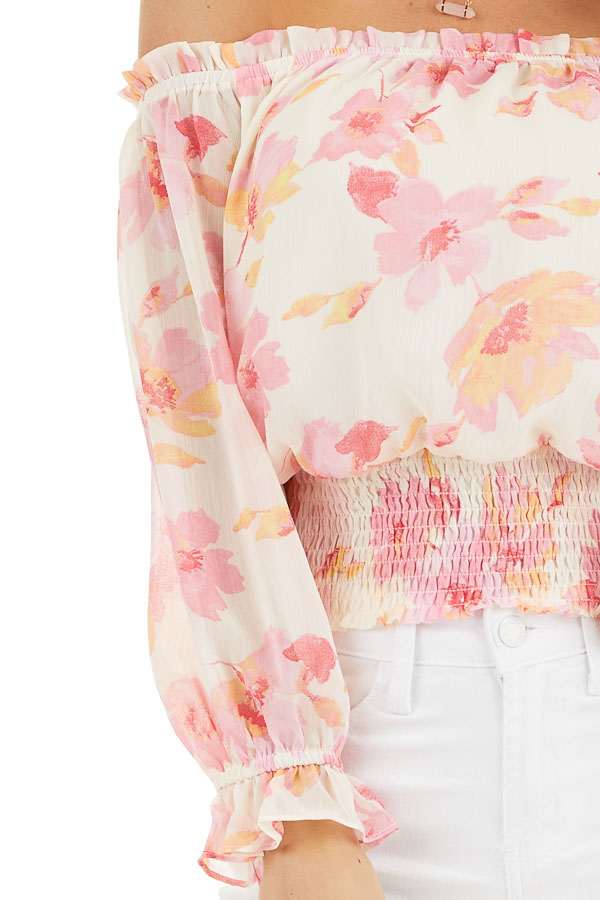 Cream and Pink Floral Print Off the Shoulder Smocked Top detail