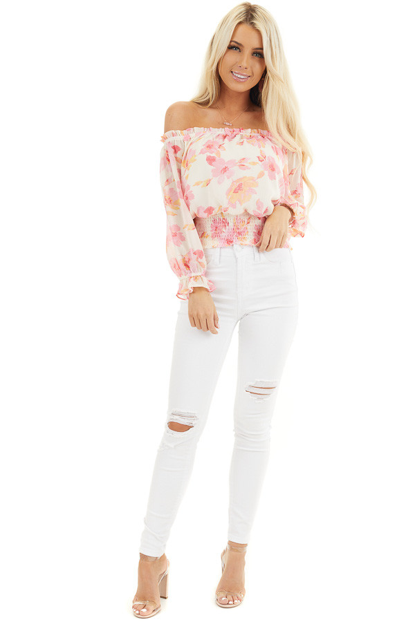 Cream and Pink Floral Print Off the Shoulder Smocked Top front full body