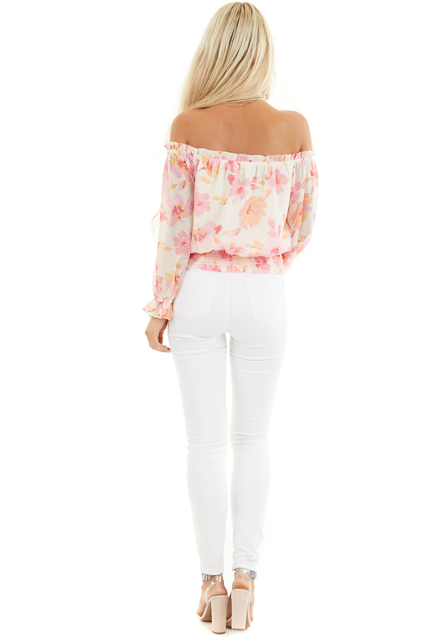 Cream and Pink Floral Print Off the Shoulder Smocked Top back full body