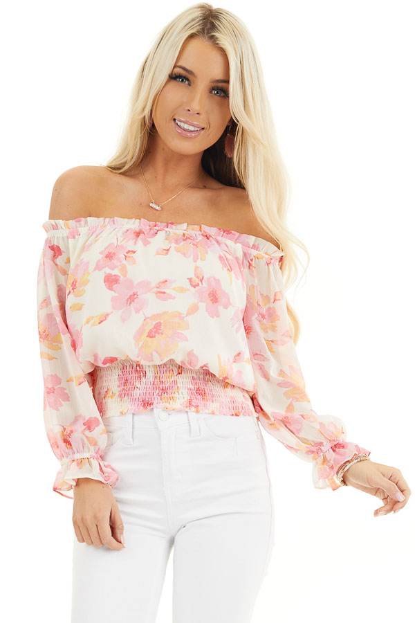Cream and Pink Floral Print Off the Shoulder Smocked Top front close up